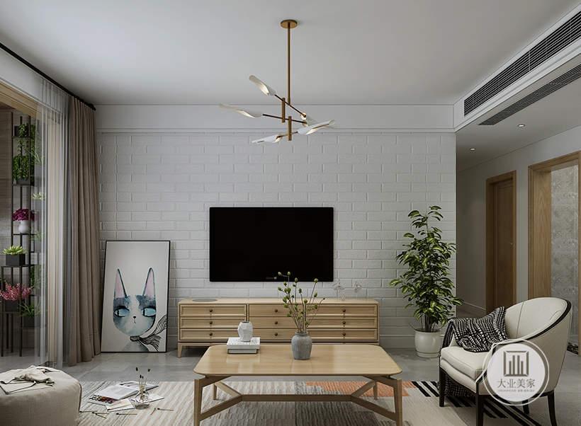 客厅影视墙采用白色砖墙壁纸,电视柜采用原木材料。