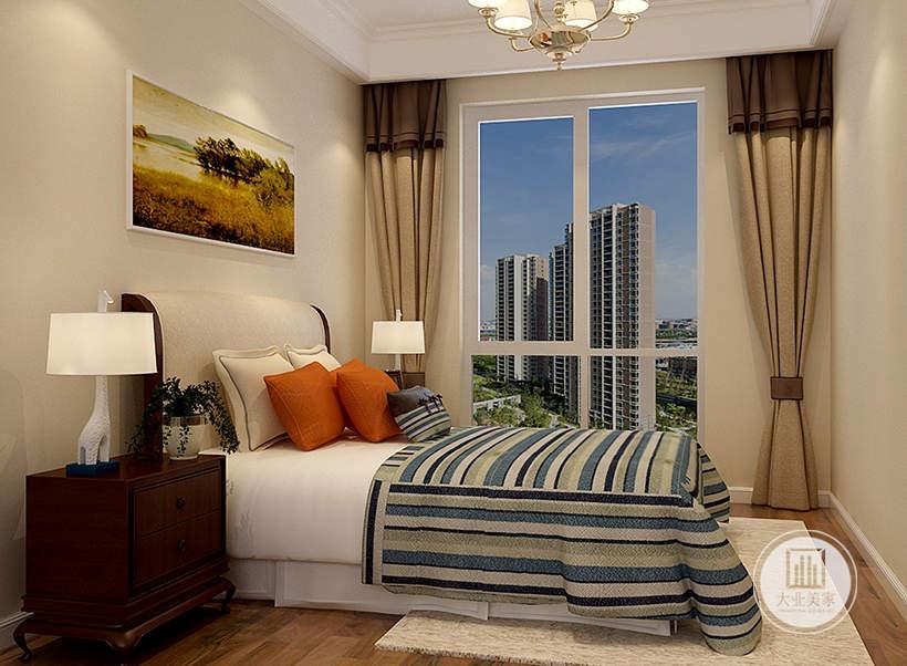 床头背景墙铺贴浅黄色壁纸,墙面采用风景画装饰,床的两侧采用红木材料。