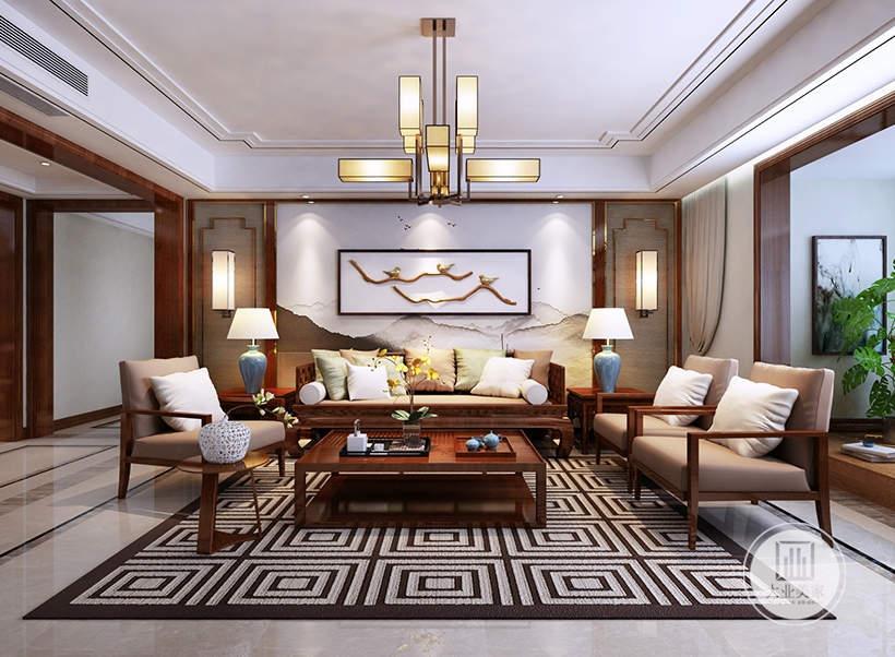 客厅沙发背景墙采用中式风格壁纸,墙面悬挂中式风景画,两侧采用实木护墙板,沙发茶几采用红木材料。