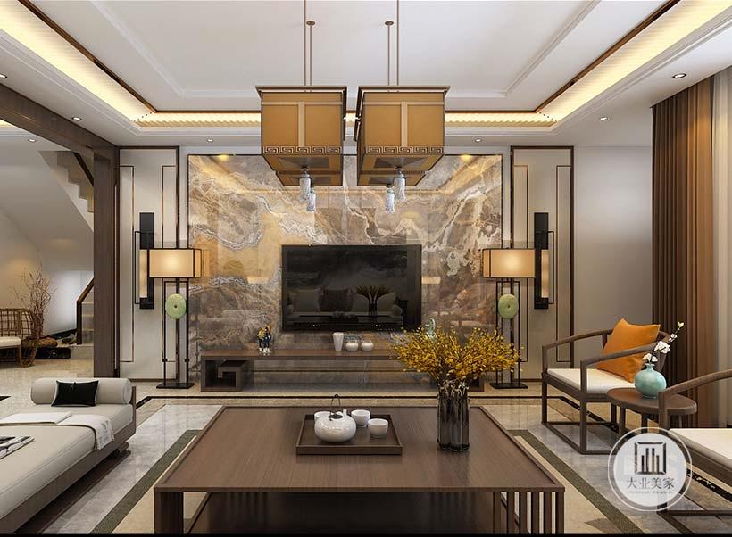 客厅影视墙采用大理石护墙板,电视柜采用简单的中式茶几,两侧摆放中式落地灯装饰。