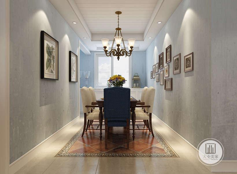 白色餐桌沙发座椅样式轻松明快,色调细腻高贵,墙壁装饰画极具风格特色,铁艺链条吊灯可以在不同角度下产生不同的光感,光源充足。