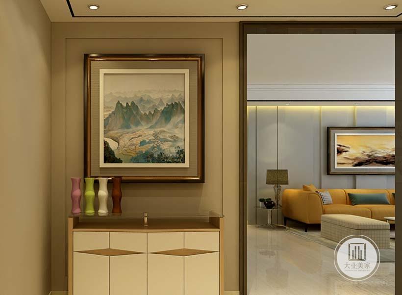玄关采用浅黄色壁纸,墙面悬挂中式装饰画,橱柜采用现代风格实木材料做成。