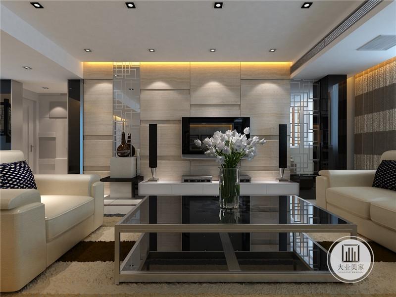 客厅影视墙采用木纹砖,两侧是音响,下面是白色电视柜。