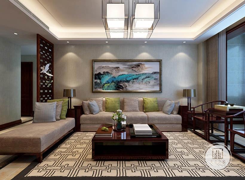 客厅背景墙采用浅黄色墙纸,墙面采用中式水墨画装饰,沙发和茶几都采用红木材料。