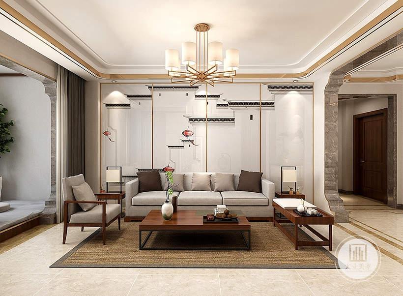 客厅沙发墙采用中式壁纸,沙发茶几采用红木材料,地面铺设浅黄色瓷砖搭配棕色地毯。