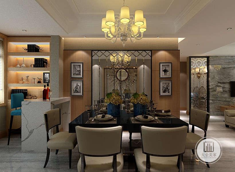 造型典雅的吊灯,装饰墙面运用镜面折射,吊顶层面隔断,强调室内空间形态和物件的单一性、抽象性。