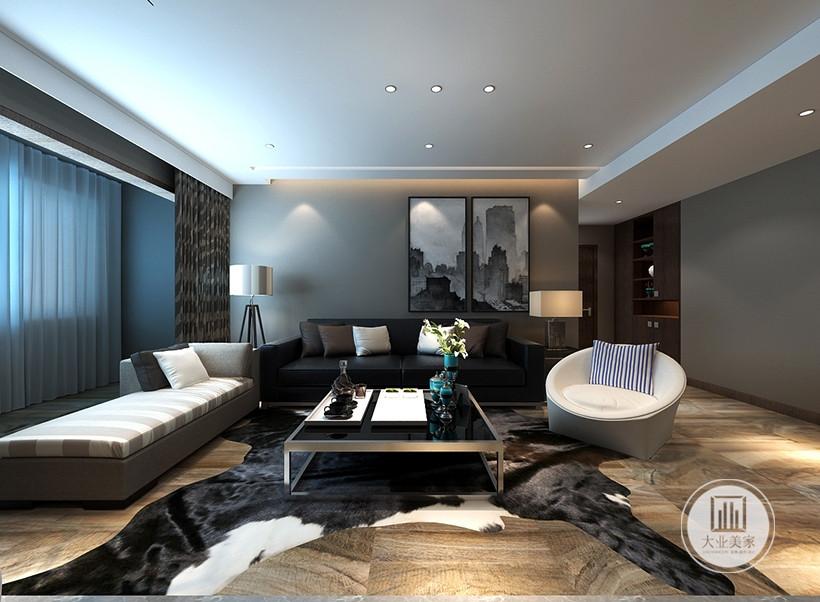 中心色为冷静的灰褐色。地毯、灯罩、窗帘用白色调,家具白色灰色相间,房间局部点缀淡蓝,以增添浪漫的气氛。