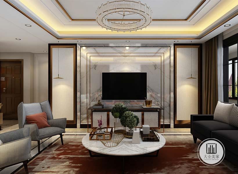 客厅影视墙采用大理石材料,周围采用银色金属边框,两侧采用白色壁布。