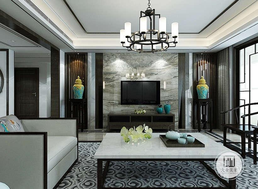 大理石电视墙,时尚前卫,鎏金瓷瓶韵味十足,古今现代的完美结合,在大理石的质感的居室中透露出浓浓古韵。