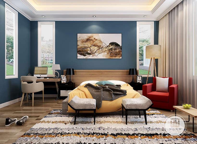 墙面装饰画,注重对称的空间美感,曲线优美、线条流动的家居陈设,杂色手工地毯,给古典风格的家居环境增添了端庄、典雅的贵族气氛。
