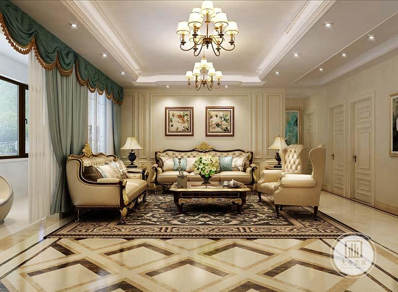 客厅沙发墙采用黄色壁纸,墙面挂静物画装饰,沙发茶几采用黑檀木材料,沙发采用黄色布艺沙发,地面铺设白色瓷砖搭配深色美式花纹地毯。