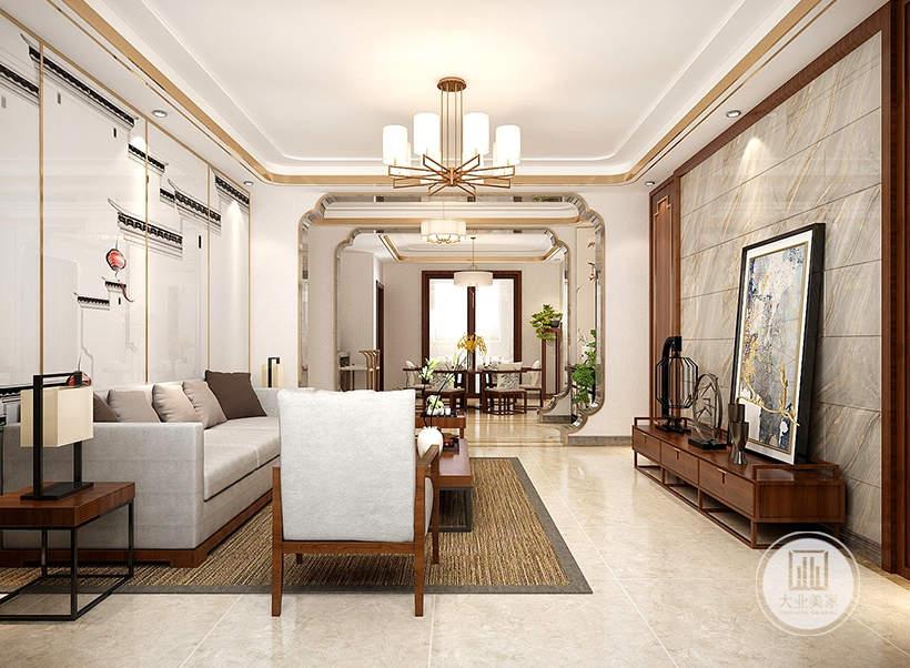 影视墙不挂电视,墙面采用灰色大理石板,电视柜采用红木材料,柜上摆放中式装饰画。