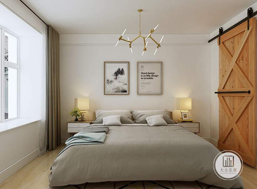 主卧室床头背景墙不做任何颜色装饰,墙面采用两幅黑白装饰画,床的两侧采用白色实木床头柜,一侧的卧室门采用谷仓门的设计。