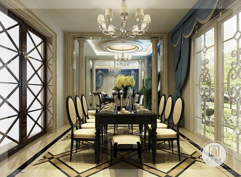 黑色餐桌,白色软垫餐椅,有着精细的曲线和色彩碰撞形成的图案,考虑到日常生活的功能性,又具备休闲性。