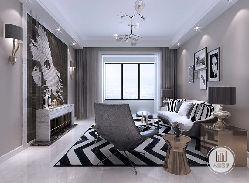 客厅不放电视,影视墙采用马赛克瓷砖拼贴的人物肖像,电视柜做成壁炉的形象。