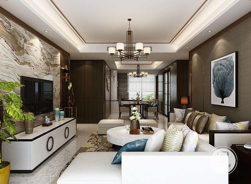 中式烛台吊灯优雅华贵,白色为主的家居布艺装饰,冲淡中式风格的古朴沉闷,使客厅显得明朗开阔。