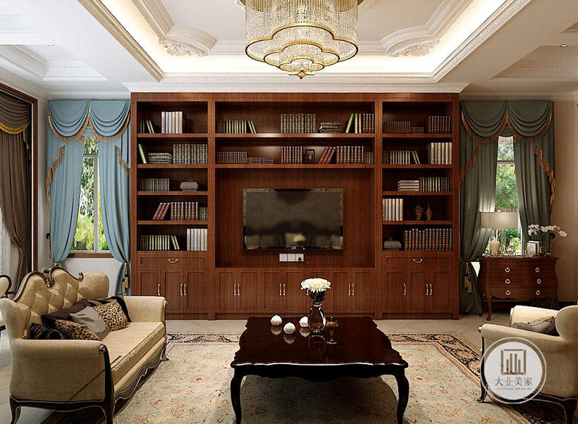 客厅影视墙做成红木书柜,电视机嵌入到书柜中,影视墙的一侧的窗户下面摆放红木橱柜。
