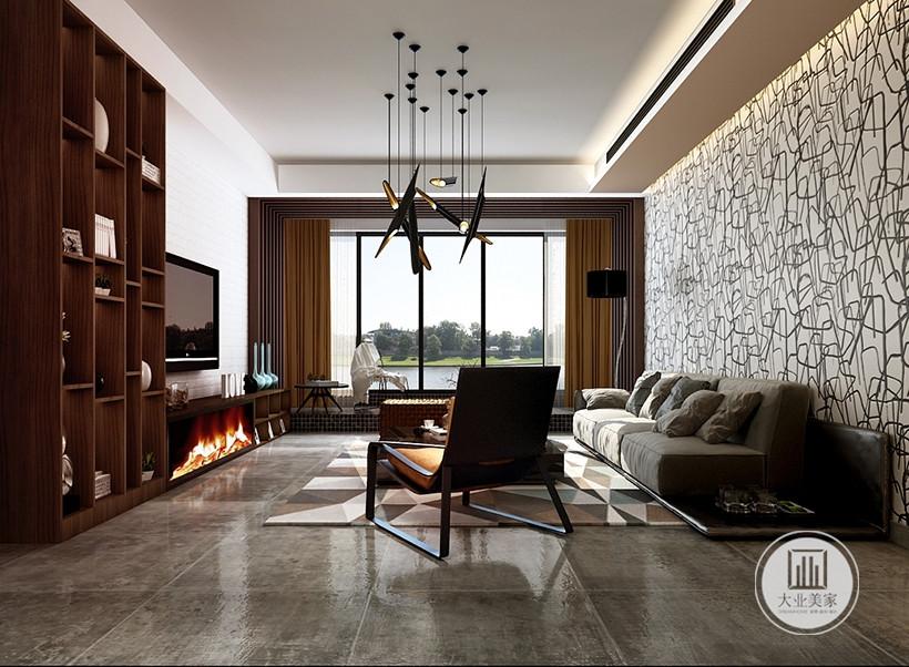 色彩素雅的图案,布置简洁,客厅的以暖白色为主调,干净明亮的落地窗设计,展现一个休闲的氛围。