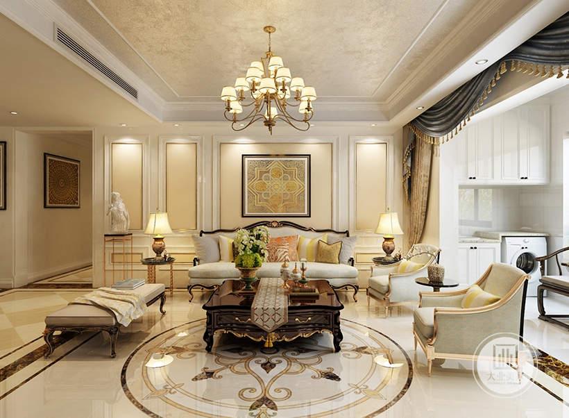 客厅沙发墙采用白色石膏线,沙发和茶几采用红木材料,地面铺贴白色瓷砖。