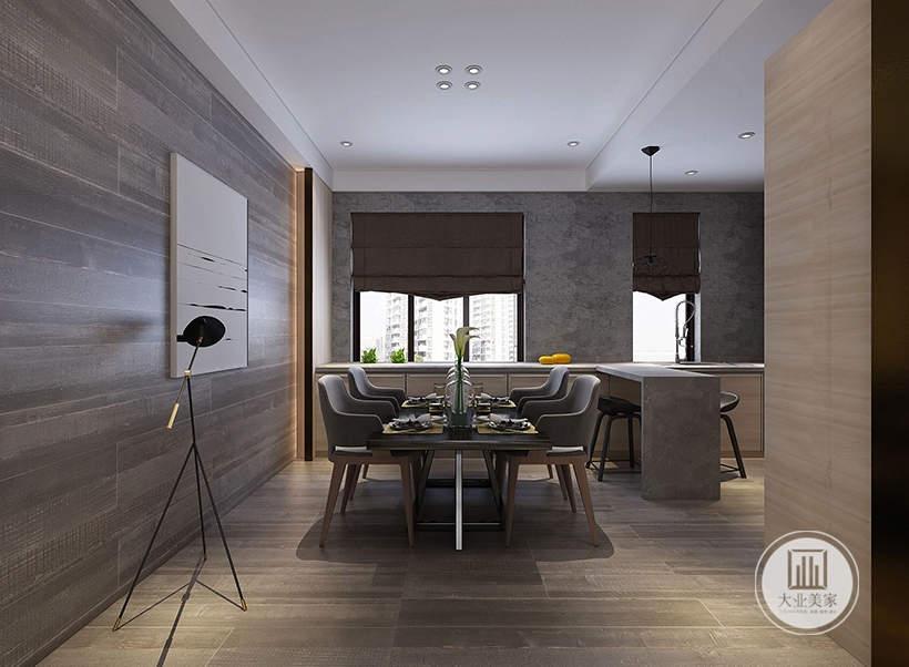 餐厅的餐桌餐椅采用实木材料,一侧的墙面挂白色装饰画。