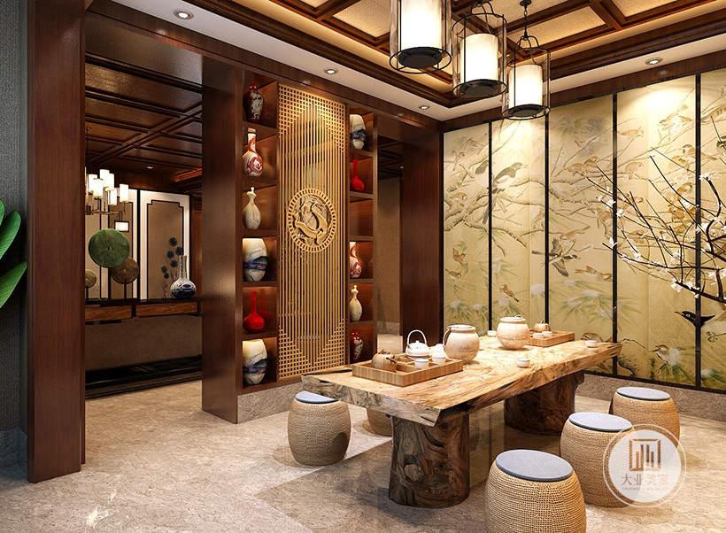 茶室装修效果图:茶室采用实木茶几,一侧是浅黄色中式风格屏风。