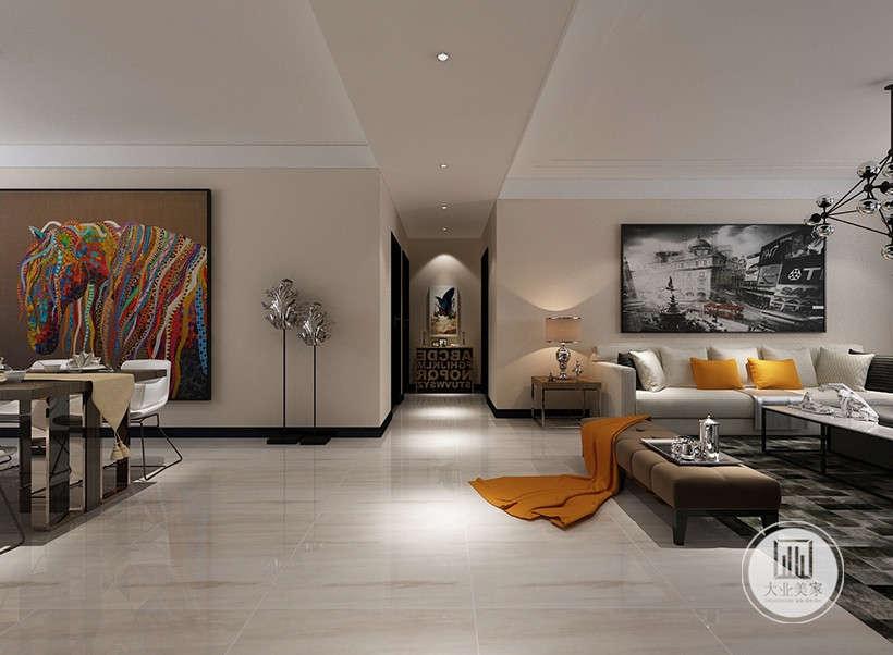中心色为暖色,整个居室地面为干净的抛光地板。现代风格强烈的装饰挂画,支撑了整个气场,与暖色墙面形成强烈对比。沙发选用白色,家具以暖黄色为主,墙和天花板也以白色为主,这样就可以避免对比强烈而显得刺眼。