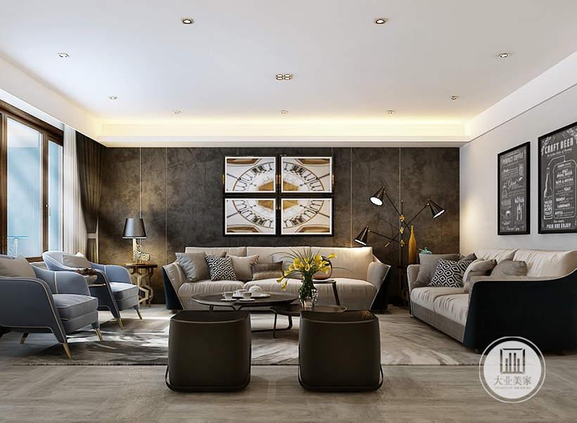 客厅沙发墙采用深色壁布设计,墙面悬挂四幅现代装饰画,沙发采用浅色布艺装饰,茶几采用现代黑色装饰。