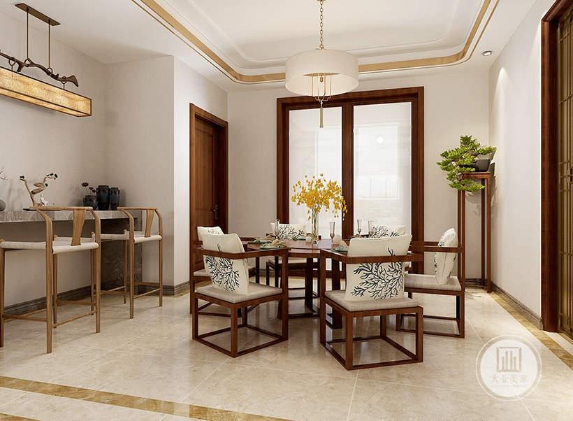 餐厅采用圆形红木材料做成的餐桌餐椅,一侧的墙面采用大理石的书桌,原木材料高脚凳。