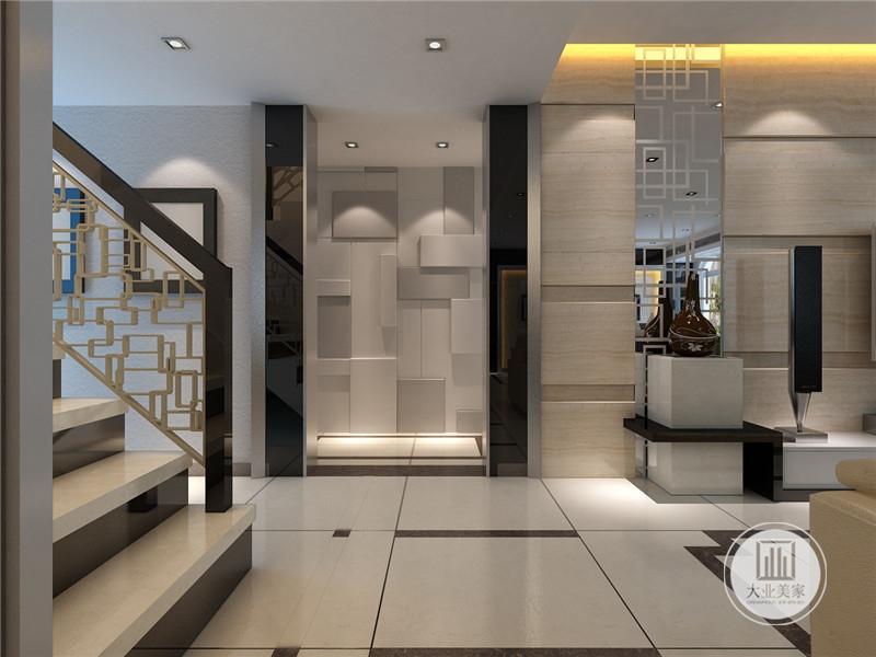 设计师采用大量木面板的元素,体现了个性时尚的现代简约风格,楼梯挡板采用的是镂空设计,提升了整个空间的高度,主色调也很和谐,使客厅充满了安静感。