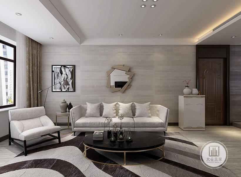 客厅沙发墙采用浅黄色木纹砖,沙发墙悬挂现代镜面装饰,靠窗的一侧采用黑白相间的风格,浅灰色的布艺沙发搭配黑色茶几。