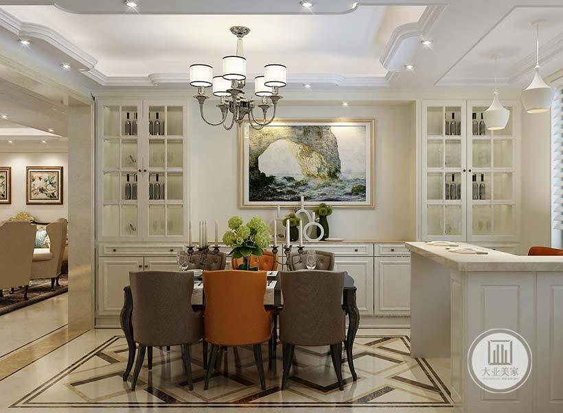 橱柜中央空出来摆放美式风格装饰画。