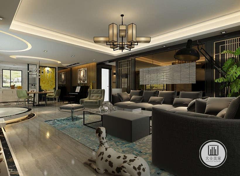 灰色布艺沙发环绕深色茶几,像点缀珍珠一般,营造视觉中心,几个靠垫在随意中反而加强了亲切感,柔和与宁静的光泽使整个客厅更有人情味。