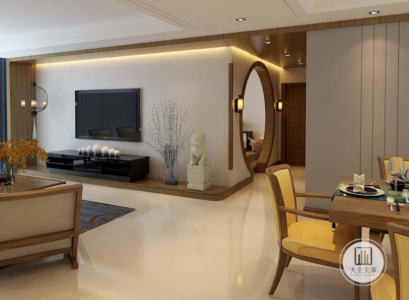 电视墙选用天然的装饰材料,搭配以古典家具相结合,墙灯造型典雅精致,同款烛台工艺灯具笼罩在薄纱之中,愈久愈散发出迷人的东方魅力。