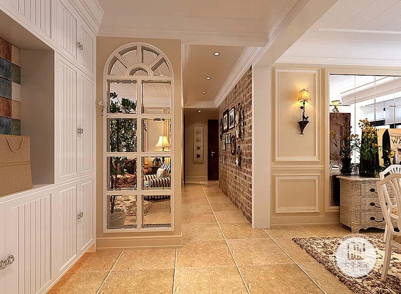入户玄关采用白色实木框,做成们的形状。