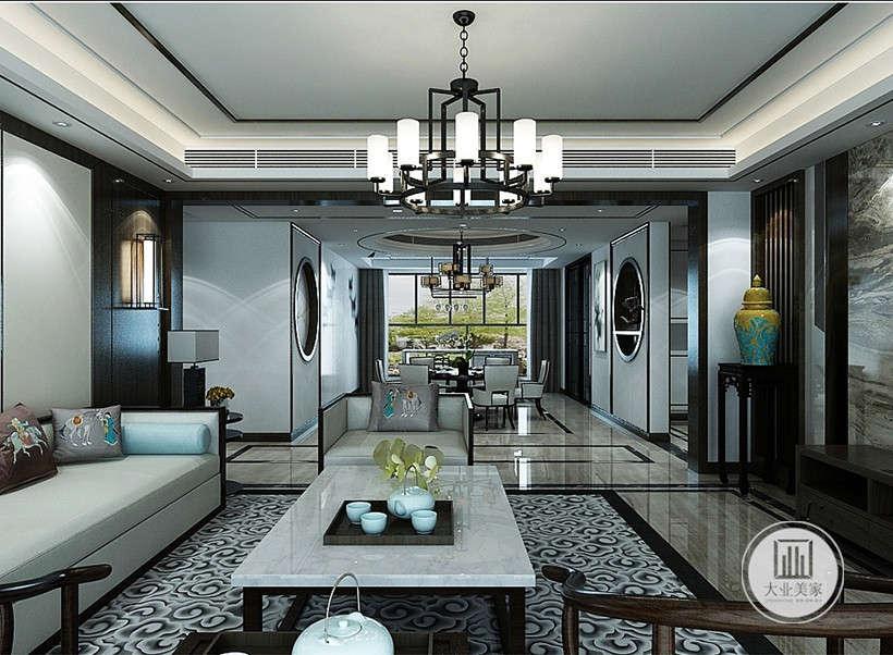 客厅是传统与现代居室风格的碰撞,设计师以现代的装饰手法和家具,结合古典中式的装饰元素,来呈现亦古亦今的空间氛围,使生活的实用性和对传统文化的追求同时得到了满足。