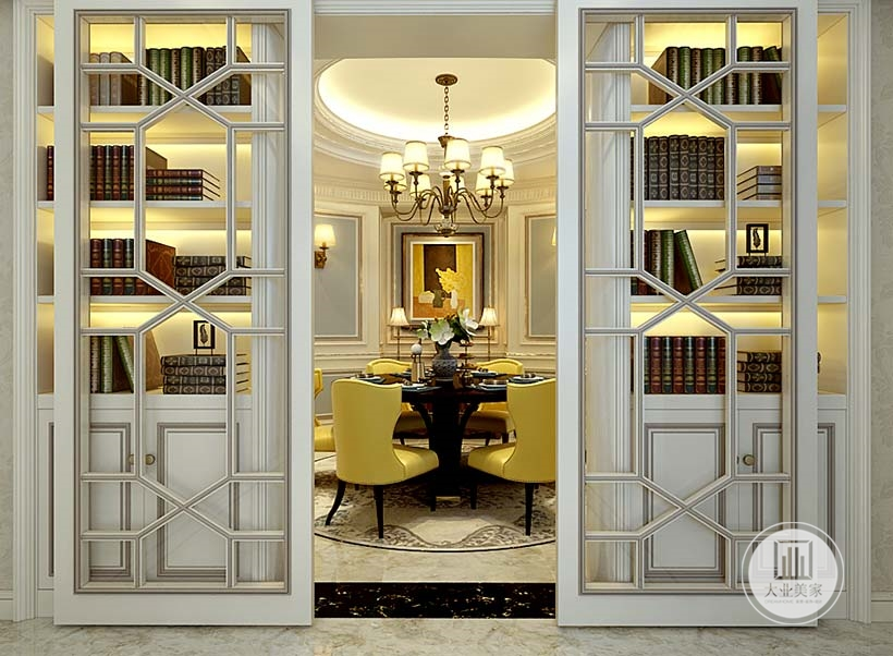 餐厅门采用白色实木玻璃门,可以作为可断使用。