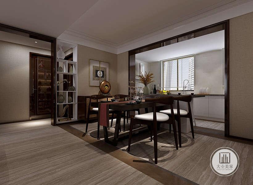 餐厅延续客厅风格,中式博古架隔断,展现主人文化素养的同时,又打造了中式家居的层次之美。