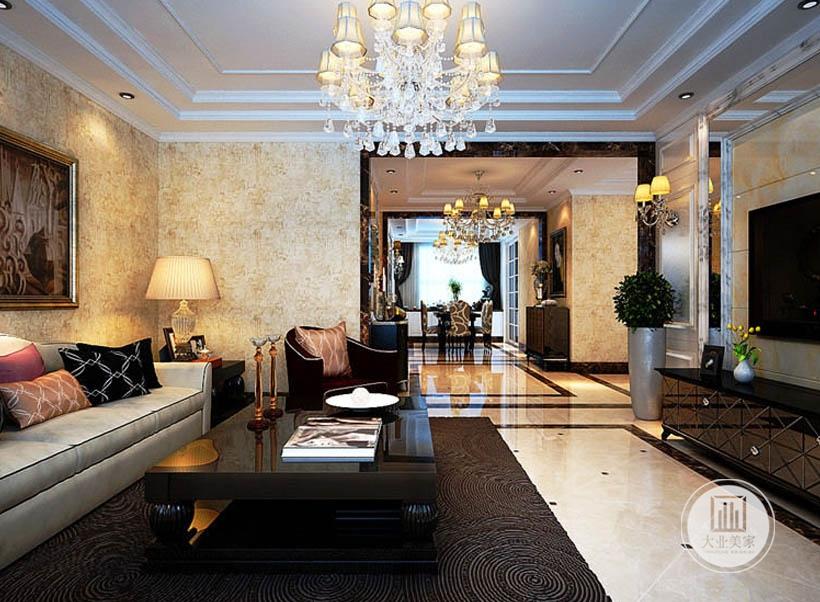 黑色桌台,典雅精致,与具有时尚感的大理石地面互相衬托,提升居室的高雅氛围。