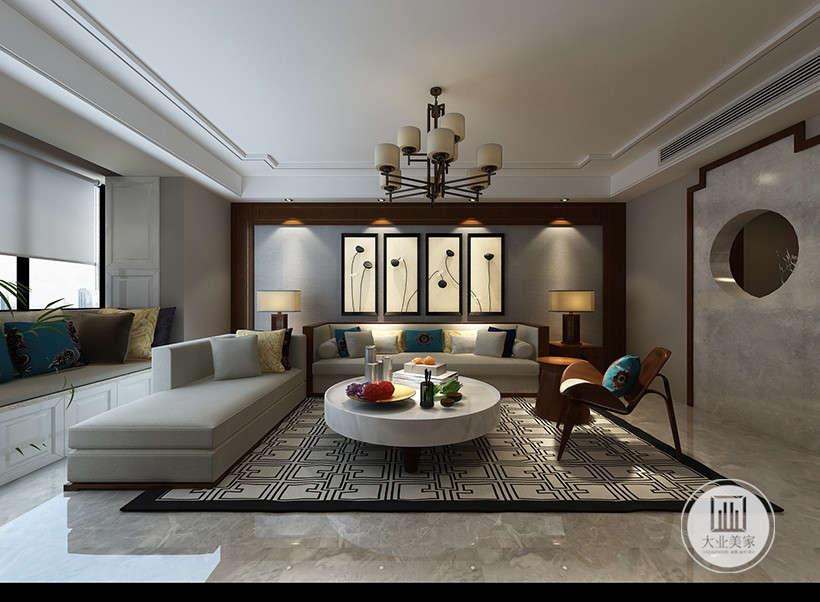 格子样式地毯,秉承了传统古典风格的典雅和华贵,圆形茶几装点了很多现代元素,灰色系沙发呈现着时尚的特征。配饰的选择方面更为简洁,设计师用意删掉繁杂,宜在得体,少了奢华的装饰,更加流畅地表达出传统文化中的精髓。