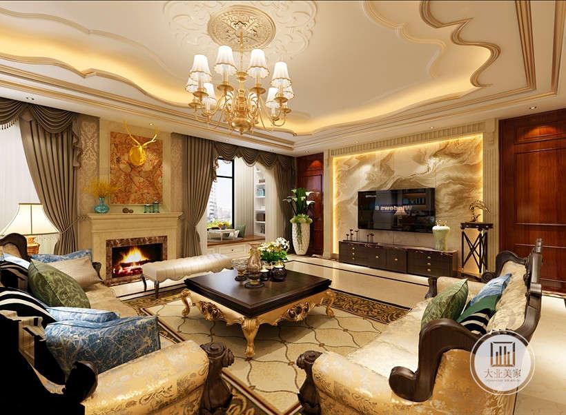 典雅华丽的装饰、浓烈的色彩、繁华锦绣的装饰画,精美的电视墙造型无一不表达着居室的雍容华贵的装饰效果。
