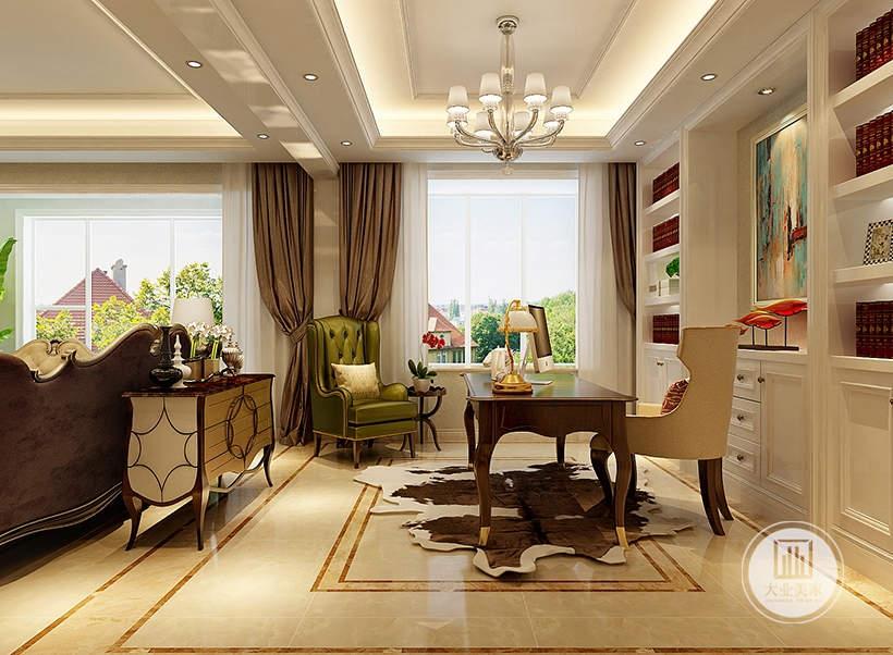 客厅沙发后面有欧式风格的红木橱柜,书房地面铺上类似动物皮毛的地毯。