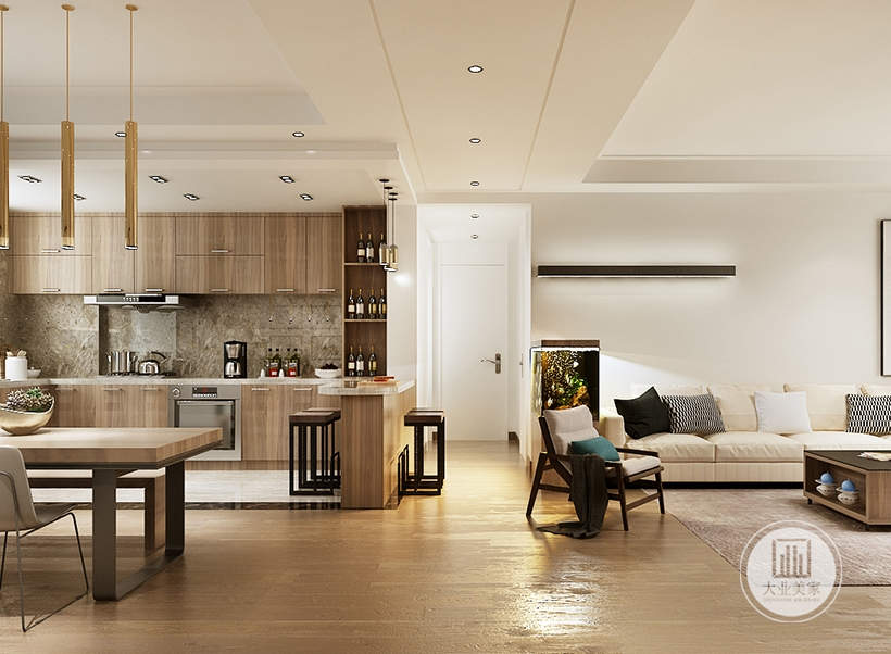 餐厅采用开放式的厨房,厨房墙面铺贴灰色大理石。
