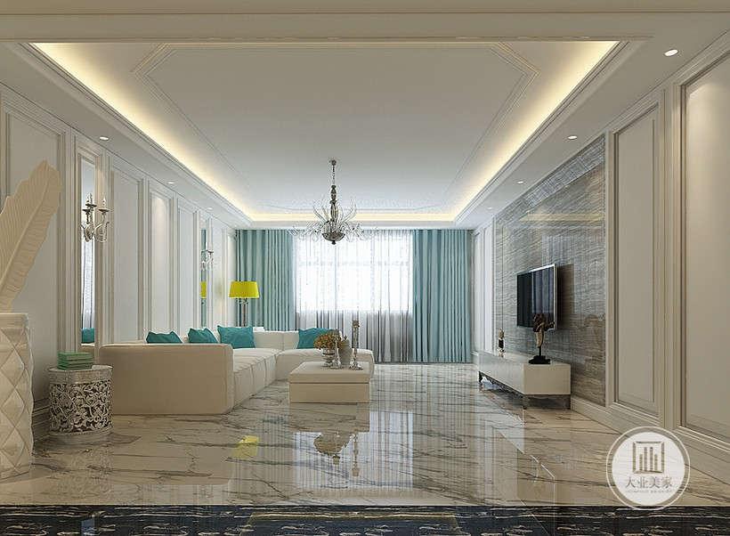 沙发布艺采用纯色的元素,深灰电视墙,没有太多表面上的富贵华丽,雅致粉蓝帷幔配合明朗的空间,温润内敛,贵气逼人。