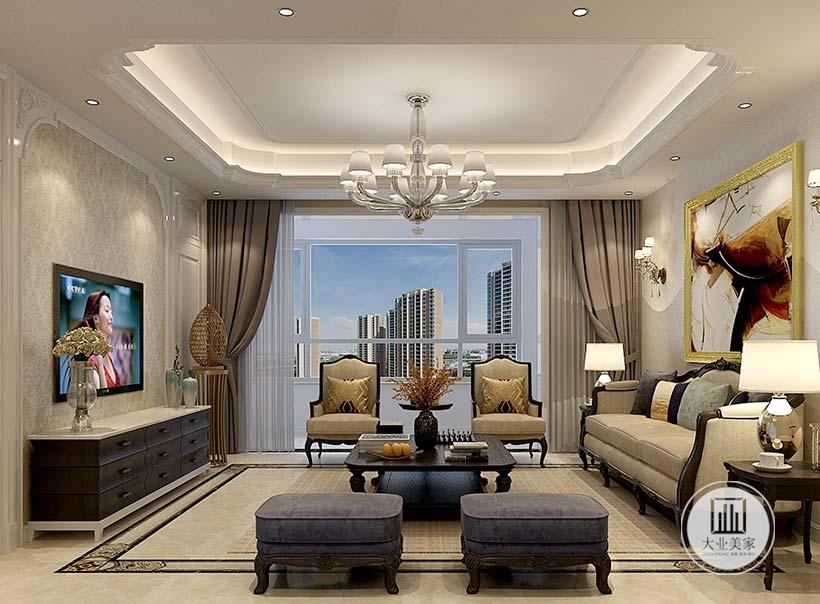客厅的沙发采用白色墙面,墙上悬挂现代装饰画,沙发茶几采用黑檀木材料,影视墙采用浅黄色墙纸,搭配黑色电视柜。