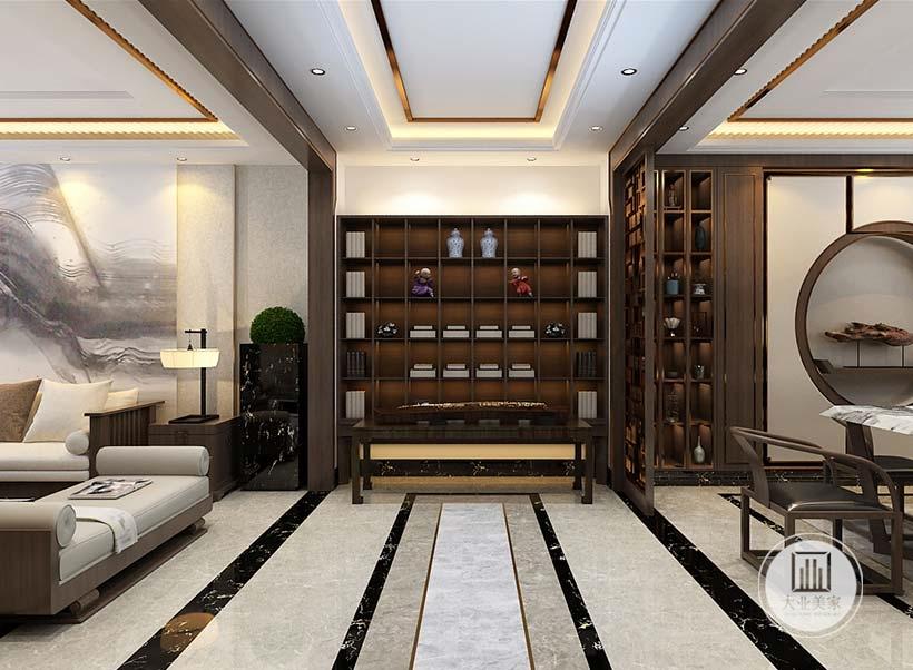 入户玄关墙面做成红木书架,搭配黑檀木茶几。