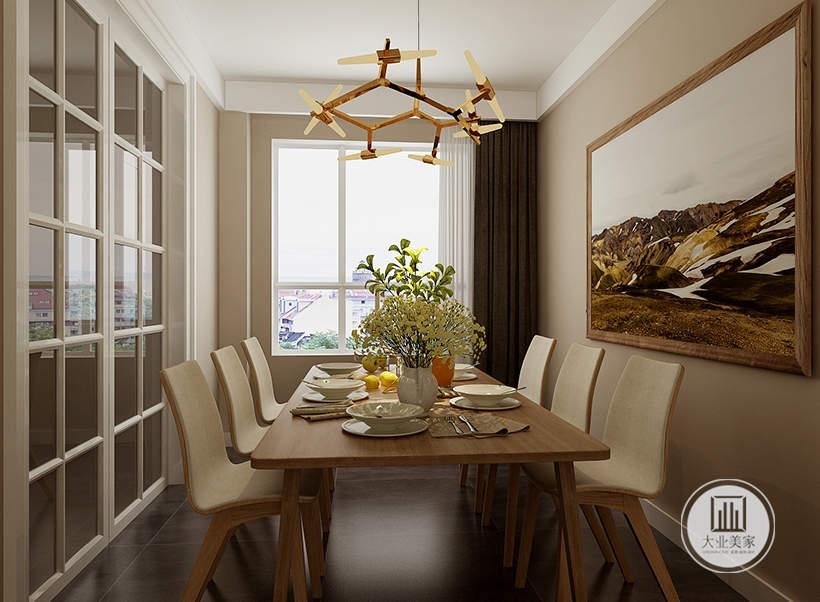 餐桌一侧的采用白色实木玻璃框架。